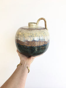 Vintage Striated Ceramic Jug Vase