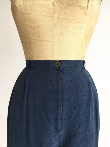 1990's Halston High Waist Windowpane Plaid Shorts