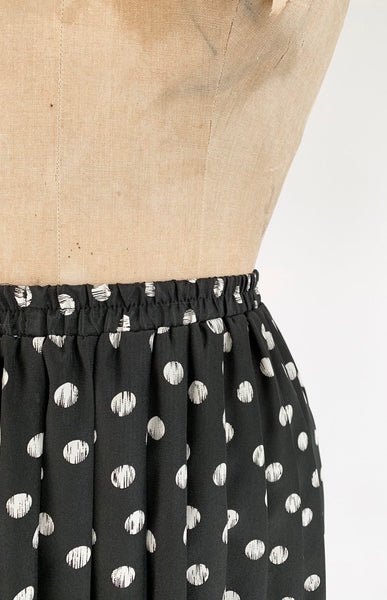 1990's Organic Dot Print Knife Pleat Midi Skirt