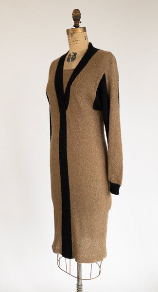 1970's Boucle Knit Midi Sweater Dress