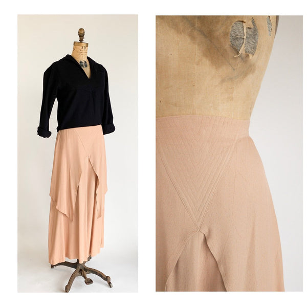 1970's Pale Pink Flutter Panel Quilted Waist Maxi Skirt