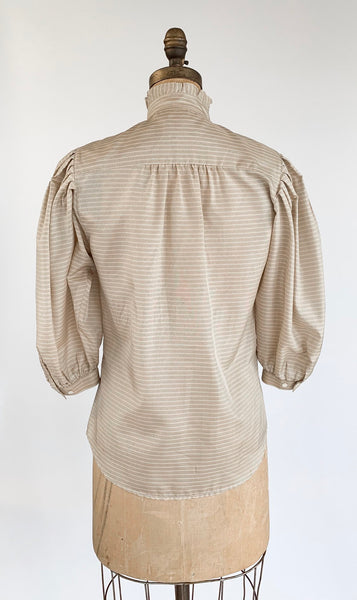 Voluminous Sleeve Silk Blouse