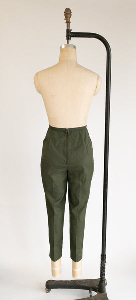1960's Olive High Waist Pencil Trousers