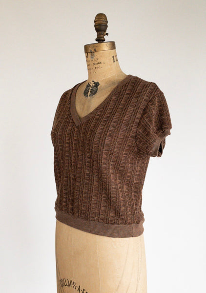 1970's Short Sleeve Cable Knit Plum Sweater