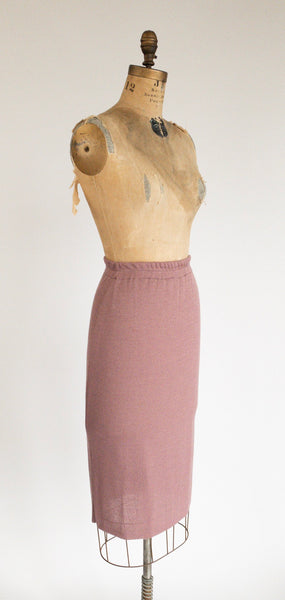 1980's Knit Body Con Lavender Pink Pencil Skirt