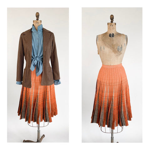 1960's Wool Drop Waist Knife Pleat Plaid Skirt in Cream Brown and Salmon