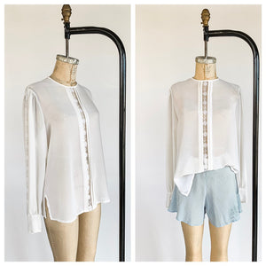 Semi Sheer White Crepe Blouse with Lace Insets