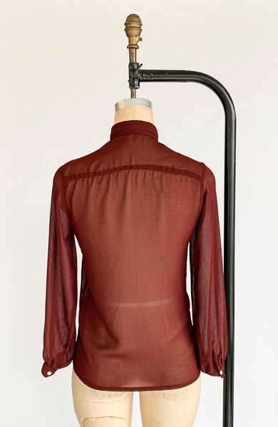 1970's Sheer Burgundy Tie Neck Blouse