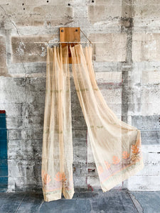 1930's Ecru Deadstock Sheer Curtain Panels With Floral Detail