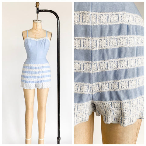 1950's Pastel Blue Cotton Playsuit Romper