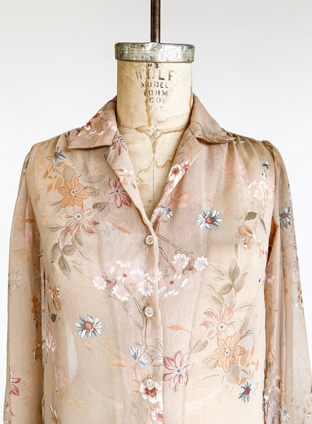 1970s Sheer Floral Blouse