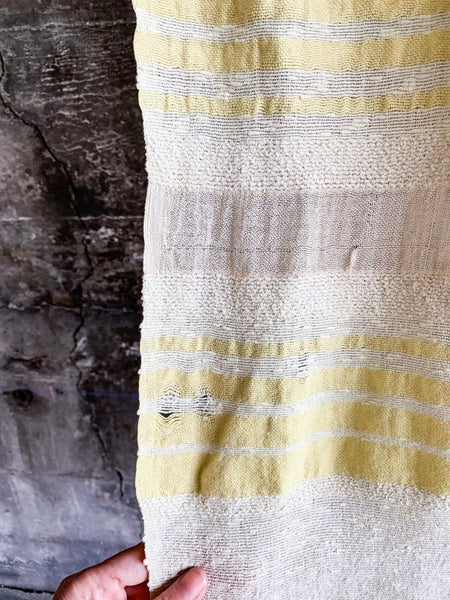 1950's Lemon and Ecru Woven Curtain Panel