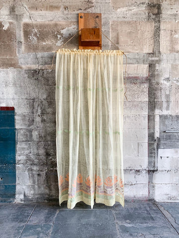 1930s Deadstock Light Yellow Sheer Curtain Panels With Floral Detail