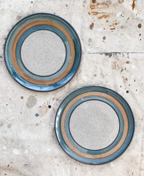 Pair of Blue Striped Studio Ceramic Plates