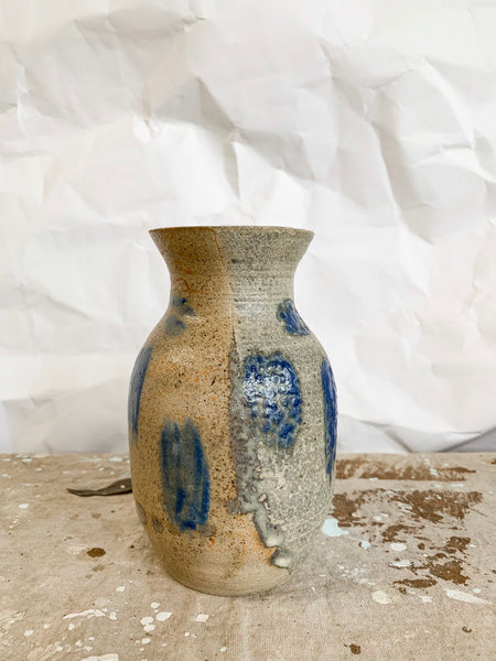 Petite Ceramic Vase With Blue Glaze Detail