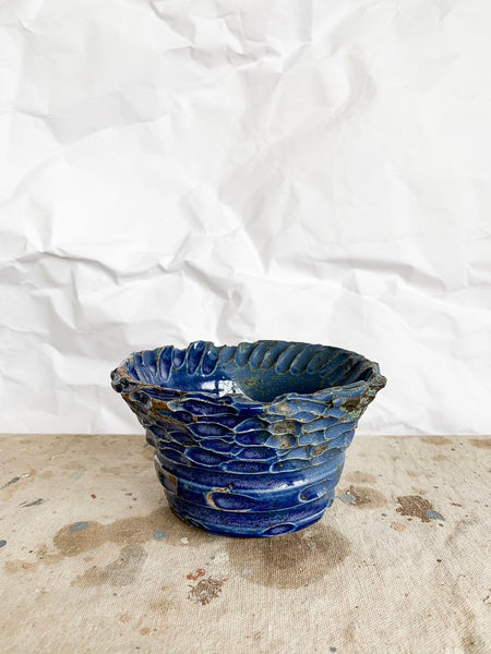 Small Cobalt Textured Ceramic Bowl
