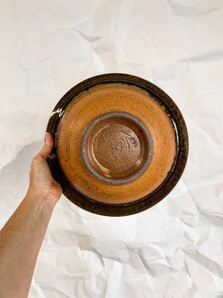 Decorative Carved Ceramic Serving Bowl