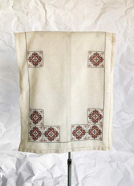 1930's Woven Cotton Table Runner With Cross Stitch Embroidery