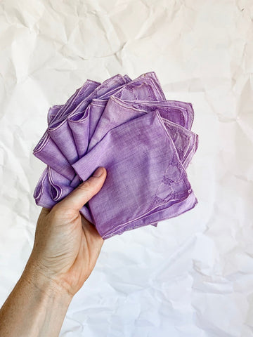 Set of Eight Soft Cotton Lavender Cocktail Napkins