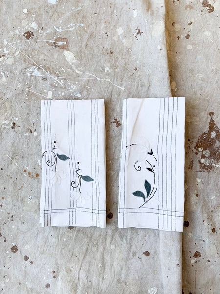 Pair of Soft Thin Linen Tea Towels with Floral Embroidery and Appliqué