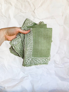 Set of Four Loose Woven Green Cotton Napkins