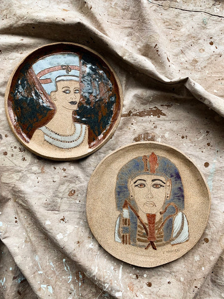 Pair of Decorative Egyptian Studio Ceramic Plates
