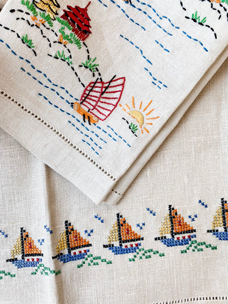 Pair of Soft Linen Embroidered Tea Towels