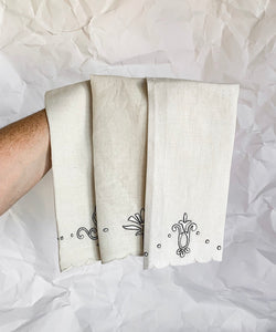 Set of Three Soft Linen Tea Towel With Simple Embroidery