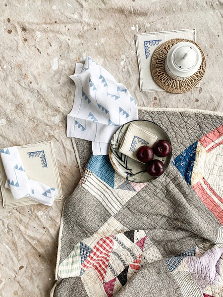 Set of Three Cotton Tea Towels With Woven Geometric Pattern