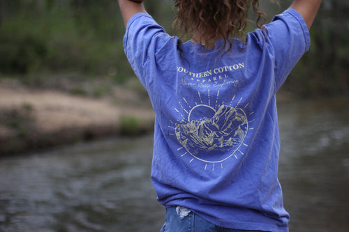Royal Blue Southern Cotton Apparel Never Stop Exploring Pocket Tee