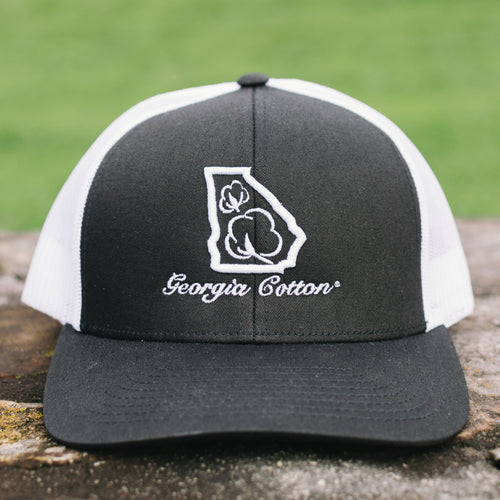 Georgia Cotton Apparel Trucker Hat in Black and White