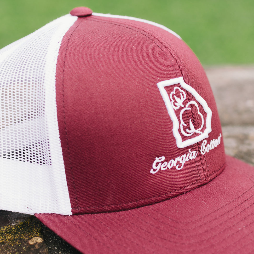 Georgia Cotton Mesh Back Hat in Maroon