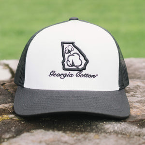 Georgia Cotton Mesh Back Hat in White and Black