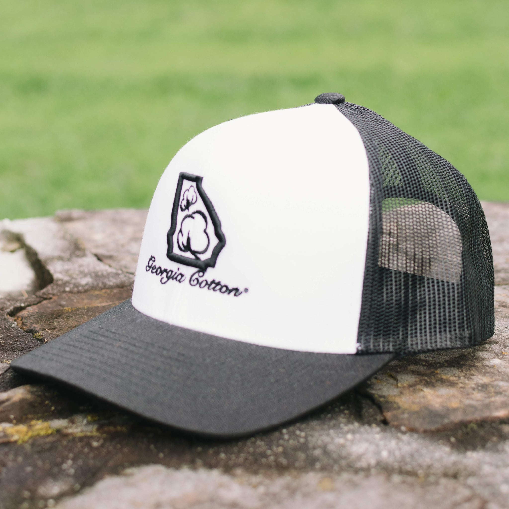 56abe9c09ae Georgia Cotton Mesh Back Hat in White and Black – Southern Cotton ...