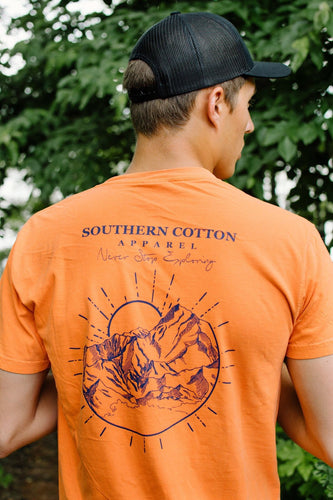 Southern Cotton Apparel Never Stop Exploring Tee in Orange