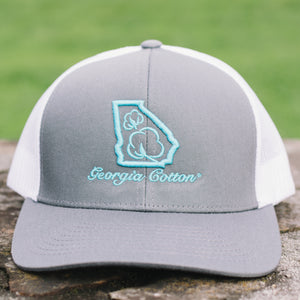 Georgia Cotton Apparel Trucker Hat in Silver and Teal