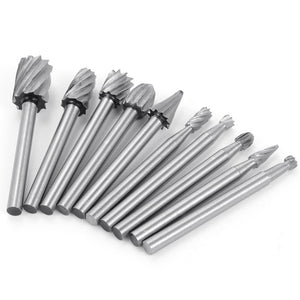 Jenoco 10pc HSS Power Bit Burr Set + 10pc Diamond Coated Power Bit Cutting Wheel Set Value Pack - For Power Drills And Rotary Tools