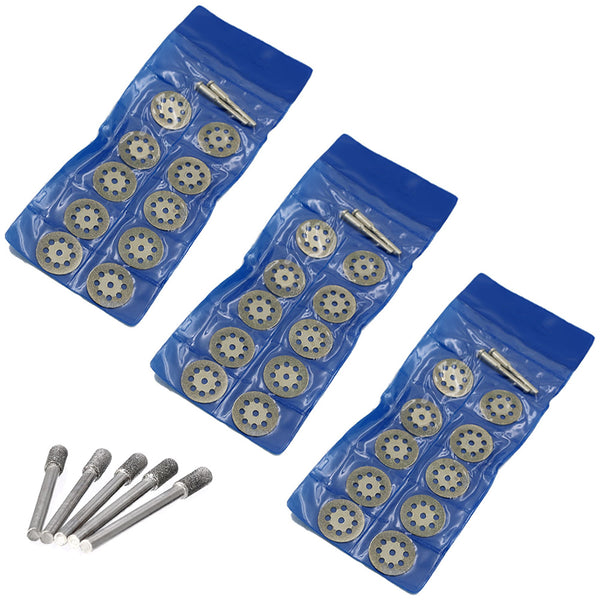 JENOCO Diamond Cutting Wheels + Diamond Burs For Dremel Rotary Tool Glass Stone Tile Cutter 545 Cut Off Disc Masonry Ceramic Concrete Notching Die Grinder Bits 35pc + 6 Mandrels Kit
