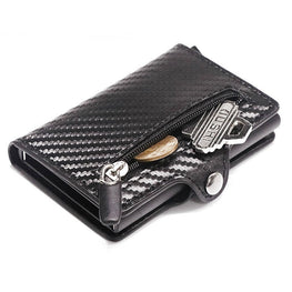 Carbon fiber leather RFID Metal Card Holder, anti-theft wallet