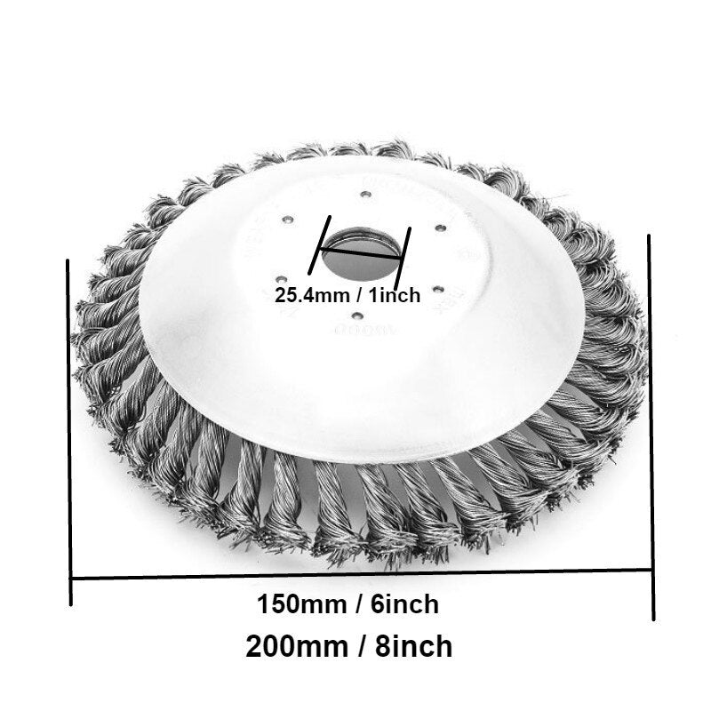 6inchs Garden weeding wire brush head Wire Break-Proof Rounded Edge Weed Trimmer Edge Head