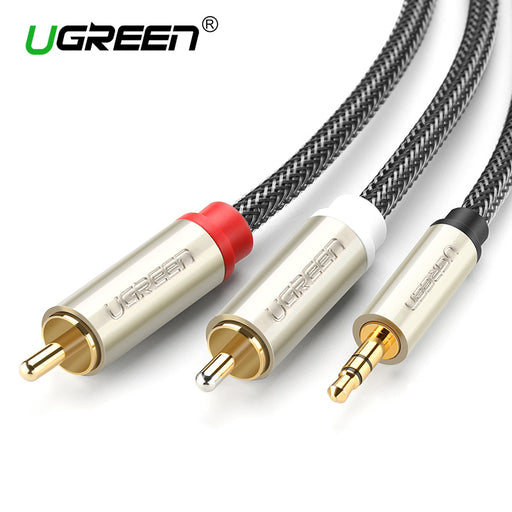 Audio video tagged type rca cables the cord outlet rca audio cable 2rca male to 35mm jack to 2 rca aux cable nylon braided greentooth Image collections