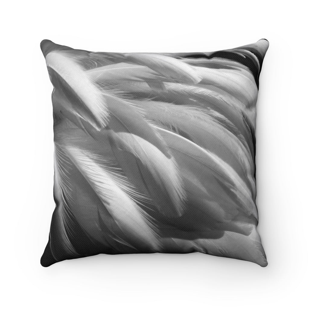 Feathers in Black & White Square Pillow