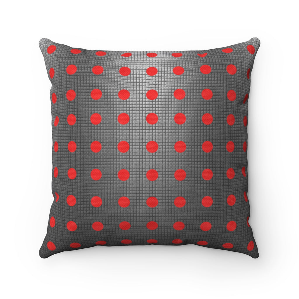 Red & Gray Polka Dot Square Pillow