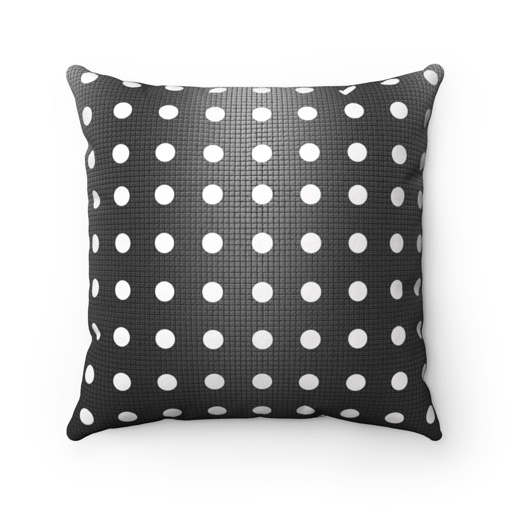 White & Gray Polka Dot Square Pillow