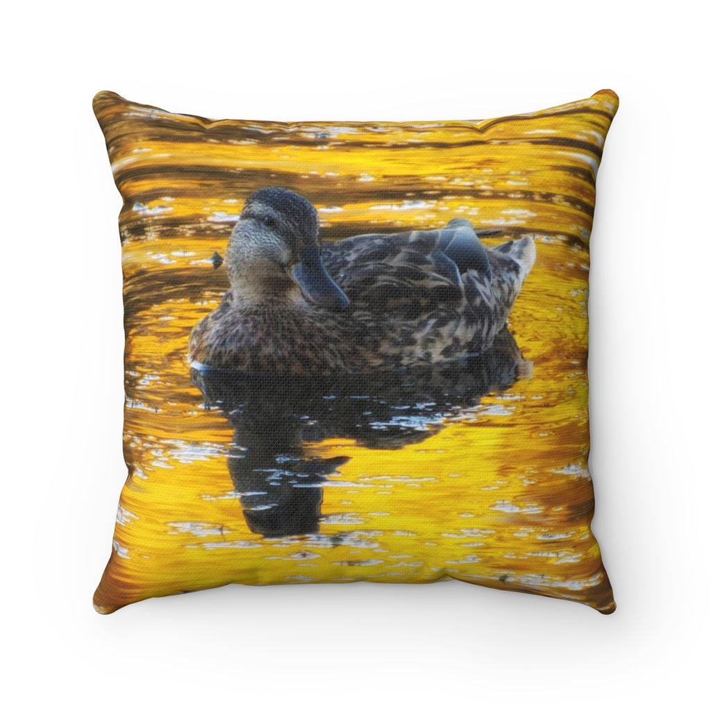 Duck in Reflections of Gold Square Pillow