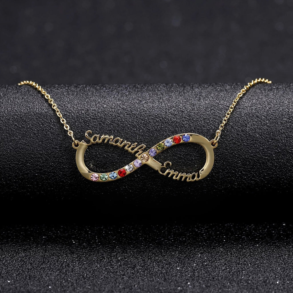 Infinity Crystal Couple Name  Necklace