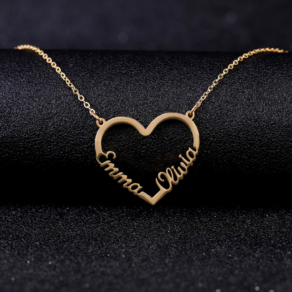 Personalized Couple Heart Necklaces