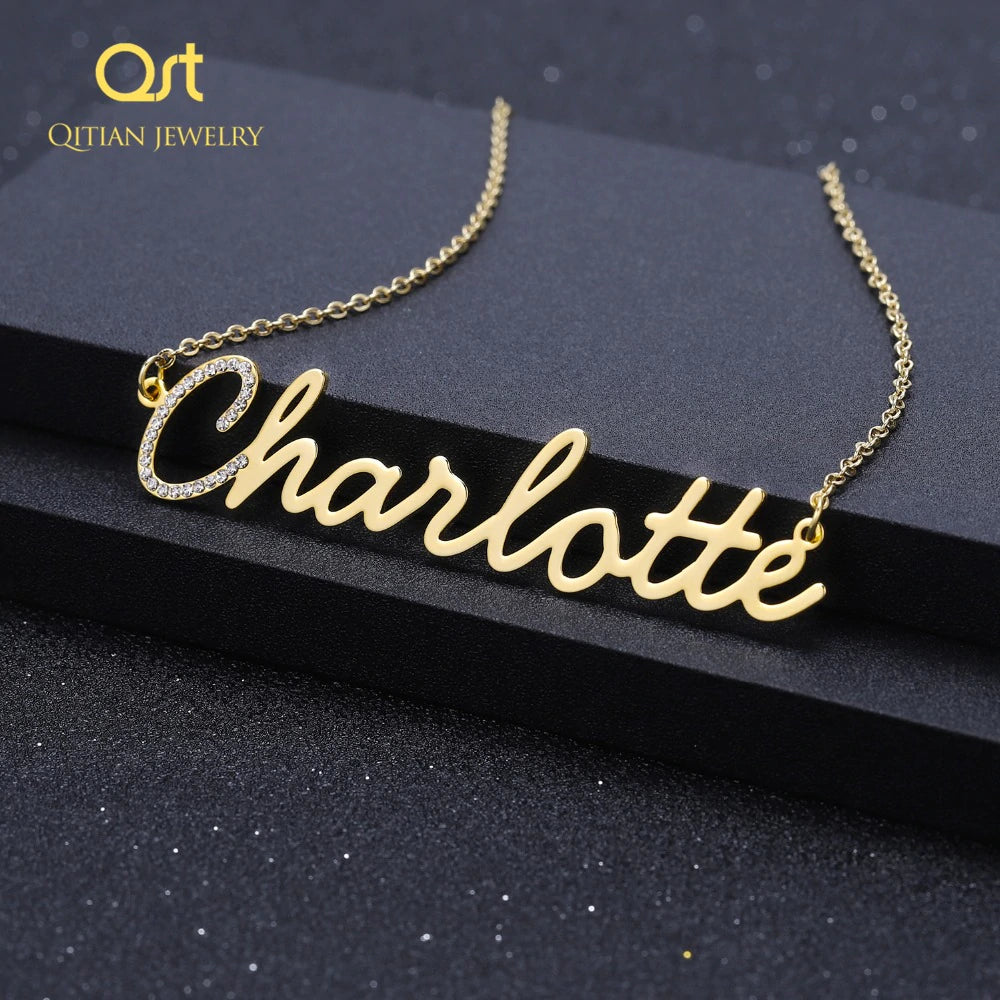 Personalized Name Necklace Crystal