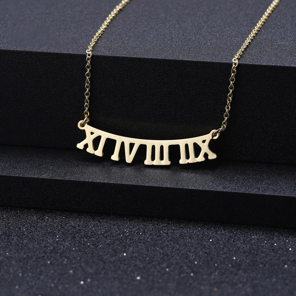 Customized Roman Date Necklace