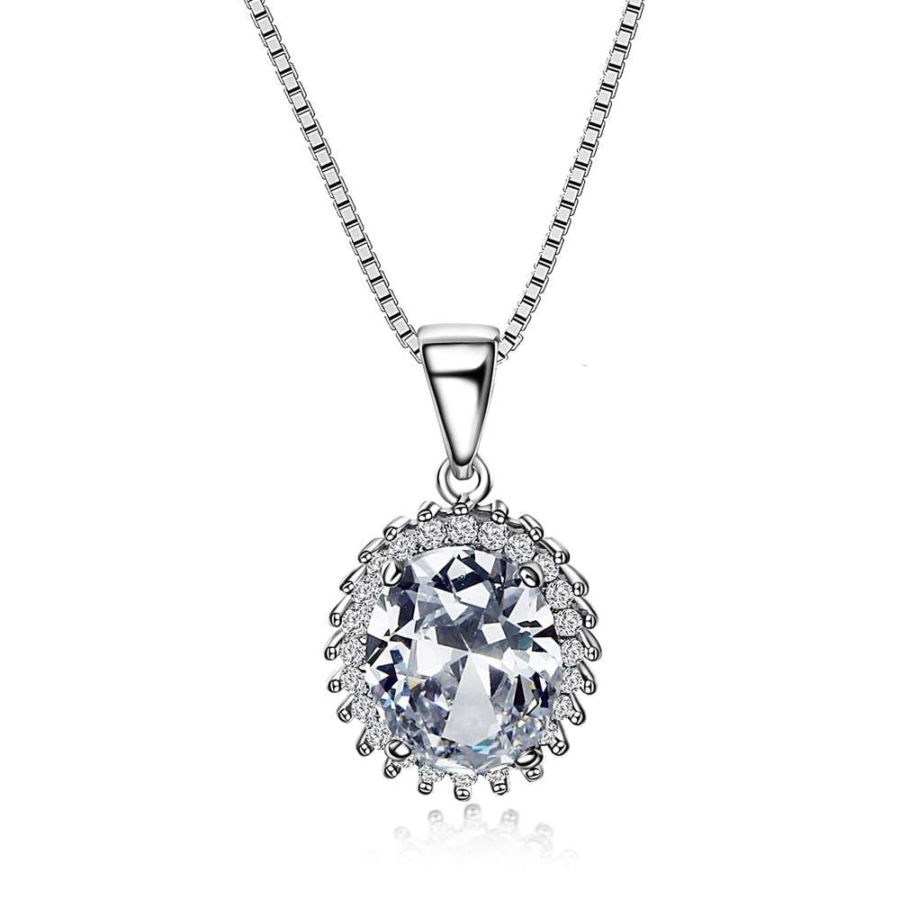 Crystal Pendant Sterling Silver Necklace